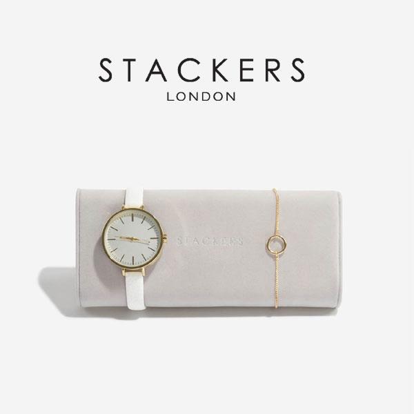 画像1: 【STACKERS】時計&ブレスレット用ミニクッション グレージュ/グレイ/グレイベージュ/3個仕切りに入る時計&ブレスレット用ミニクッション/収納/ジュエリーケース/ジュエリートレイ/重ねる/重なる/アクセサリーケース/イギリスデザイン/ロンドン/JEWELLRY BOX (1)