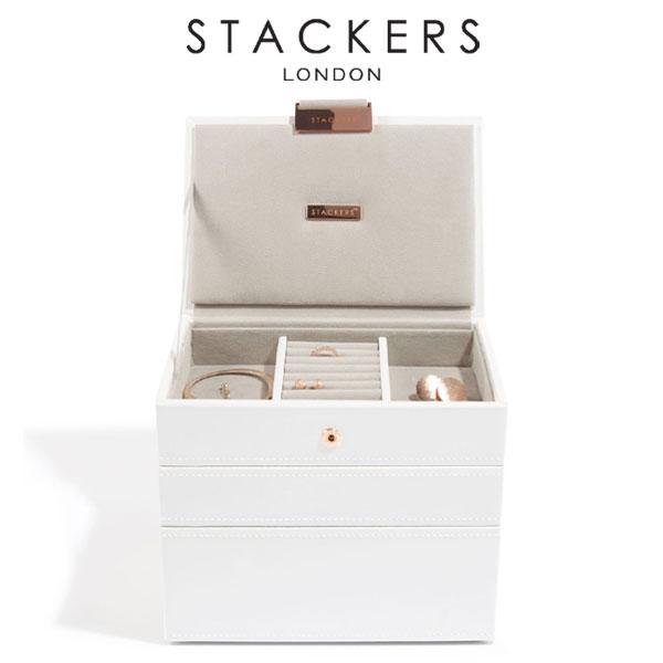 画像1: 【STACKERS】選べる ミニ ジュエリーボックス 3セット ホワイト&ローズゴールド Mini/英国/スタッカーズ/ジュエリーケース/重ねる/重なる/アクセサリーケース/ホワイト/イギリス/ロンドン/ジュエリー/アクセサリー/ケース/収納 (1)