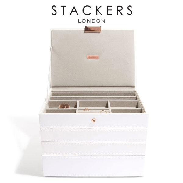 画像1: 【STACKERS】ジュエリーボックス 選べる4個セット  ホワイト&ローズゴールド white 白 スタッカーズ ジュエリーケース ジュエリートレイ 重ねる 重なる アクセサリーケース イギリスデザイン ロンドン JEWELLRY BOX (1)