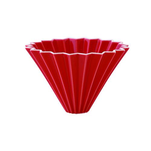 画像1: 【ORIGAMI】オリガミ ドリッパー Dripper M レッド 赤 RED 珈琲 陶器 磁器 日本製 (1)