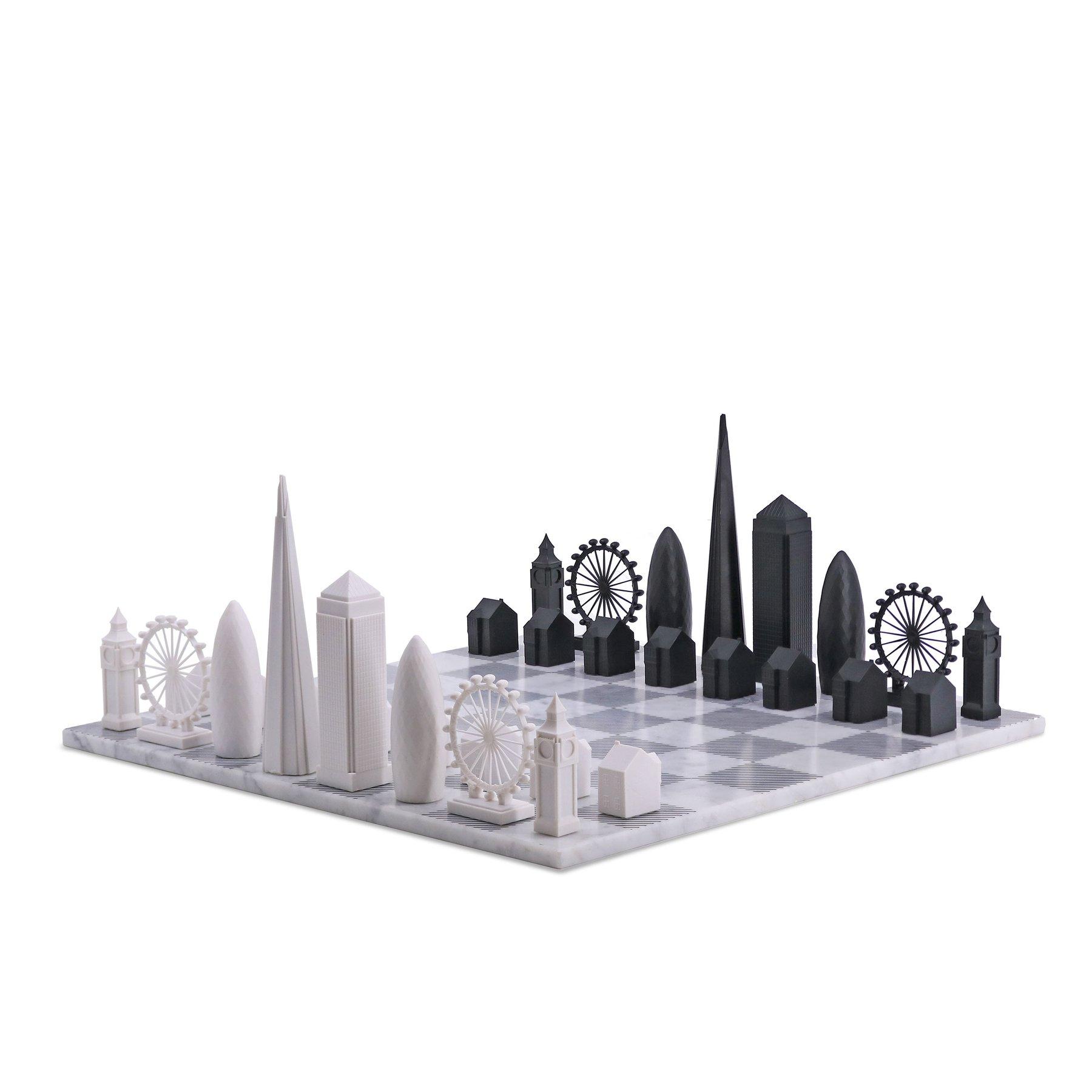 画像1: 【Skyline Chess 】ロンドンエディション チェスセット チェス 大理石ボード/ウッドボード スカイラインチェス THE LONDON EDITION トイ オブジェ インテリア お洒落 おしゃれ かっこいい モダン ギフト ボードゲーム   (1)