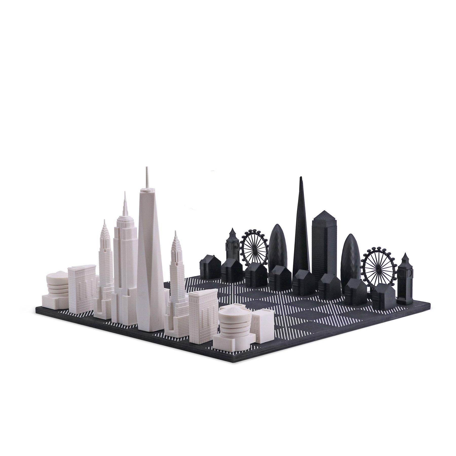 画像1: 【Skyline Chess 】ロンドンVSニューヨークエディション チェスセット チェス 木製ボード ウッド スカイラインチェス NEW YORK CITY VS. LONDON SPECIAL EDITION トイ オブジェ インテリア お洒落 おしゃれ かっこいい モダン ギフト ボードゲーム   (1)