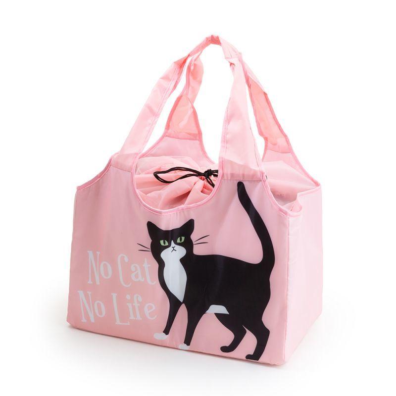 画像1: 【Abeille】Shopping Basket Bag ピンク ハチワレ /猫/黒/クロ猫/クロネコ/エコバッグ/ショッピングバッグ/買い物バッグ/ショッピングバッグ/キャット/cat/猫好き/ (1)