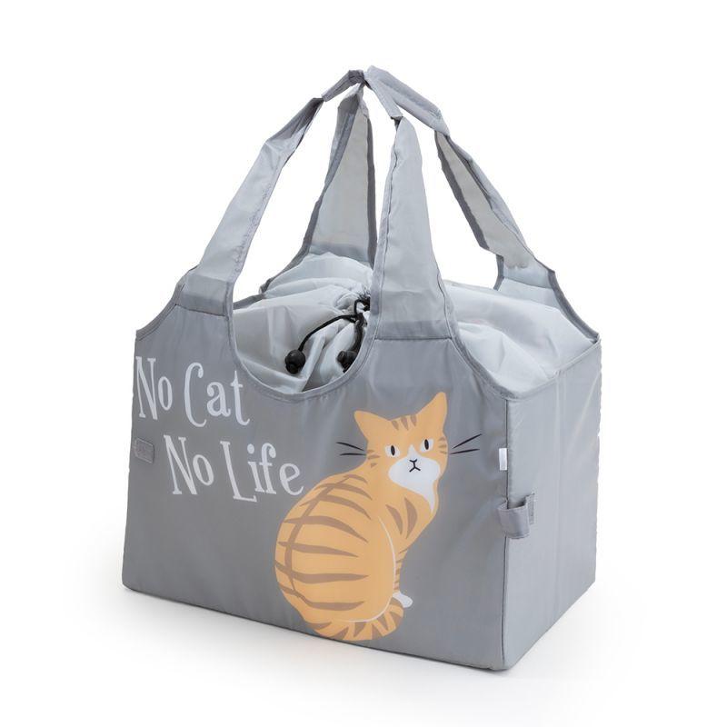 画像1: 【Abeille】Shopping Basket Bag グレー チャトラ /猫/青/灰/ねこ/エコバッグ/ショッピングバッグ/買い物バッグ/キャット/cat/猫好き/ (1)