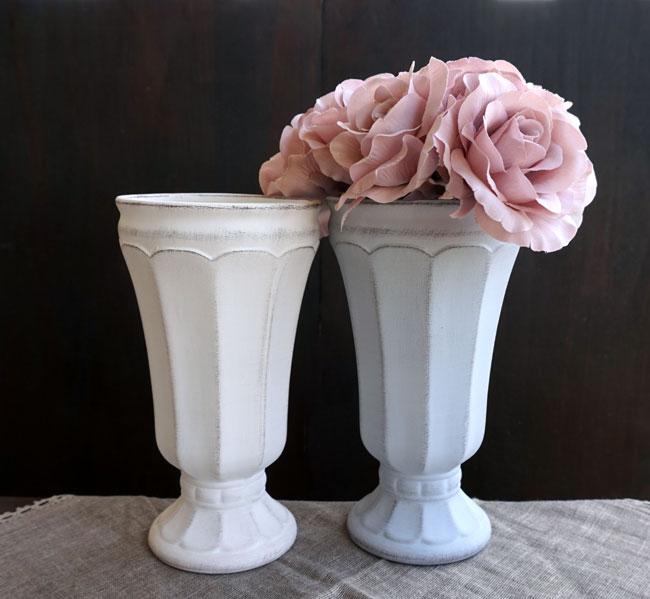 画像1: 【フラワー】Gris et blanc グリ エ ブラン  ハイ L /ホワイト・グレイ/白・灰色/アンティーク風/アンティーク調/フラワーアレンジメント/フラワーアレンジ/花器/花瓶/陶器/Clay/クレイ (1)