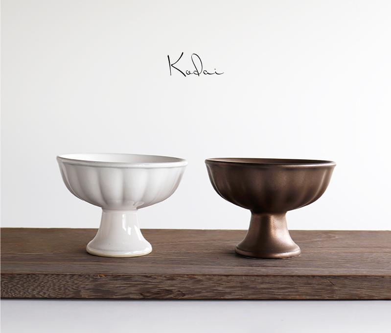 画像1: Kodai  高台 アイスクリーム うつわ アンティーク風 ブロンズ ホワイト 美濃焼 陶器 食洗機可能 (1)