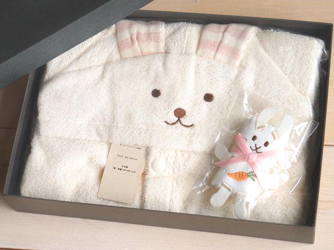 画像1: 【天衣無縫】うさぎさんのポンチョ&ミニタオルセット  ギフト箱 ベビー お風呂 赤ちゃん タオル地 (1)