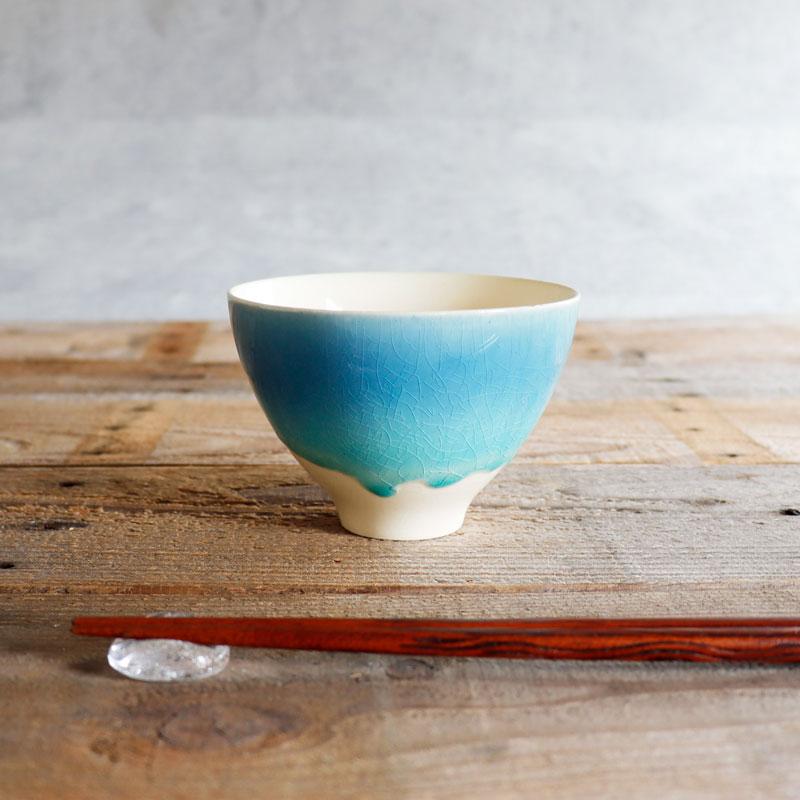 画像1: 【SAKUZAN】-藍- グラデーション 碗 茶碗 ターコイズ ボール カップ お碗 作山窯 日本製 美濃焼 釉薬 涼しげ  (1)