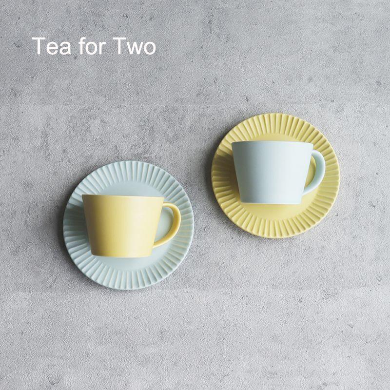 画像1: 【GIFT COLLECTION】C SAKUZAN DAYS Sara カップ&ソーサー ペアセット イエロー ターコイズ 新生活 母の日 ギフト Stripe Cup&Saucer コーヒーカップ/サラ/カフェ/磁器/日本製/陶器 ギフトコレクション (1)
