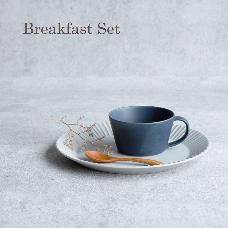 画像1: 【GIFT COLLECTION】F SAKUZAN DAYS Sara スープマグ プレート スプーン モーニングセット ネイビー グレー 新生活 ギフト 朝食 コーヒーカップ カフェ 磁器 日本製 陶器 作山窯  (1)