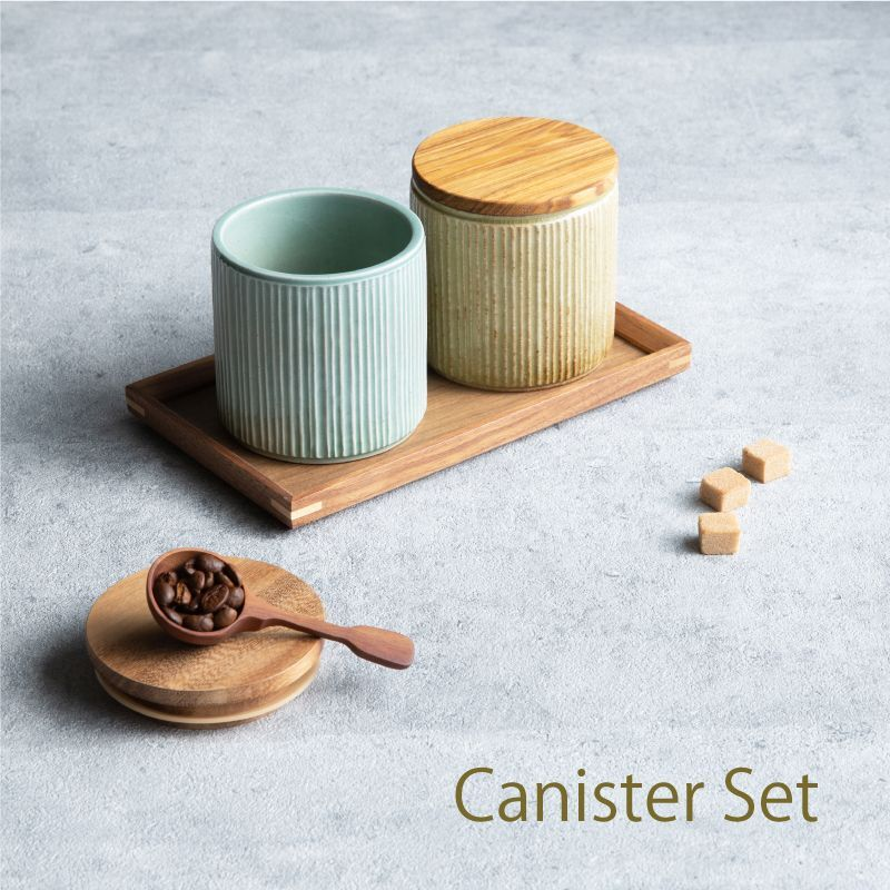 画像1: 【GIFT COLLECTION】L キャニスター セット スプーン チーク トレー しのぎ  美濃焼 LOLO ロロ  新生活 ギフト カフェ 磁器 日本製 陶器  (1)