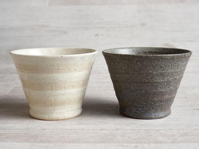 画像1: 【作山窯-SAKUZAN-】炭化 生成りボーダー ロックカップ/グレイ/アイボリー/焼酎カップ/美濃焼き/麦酒カップ (1)