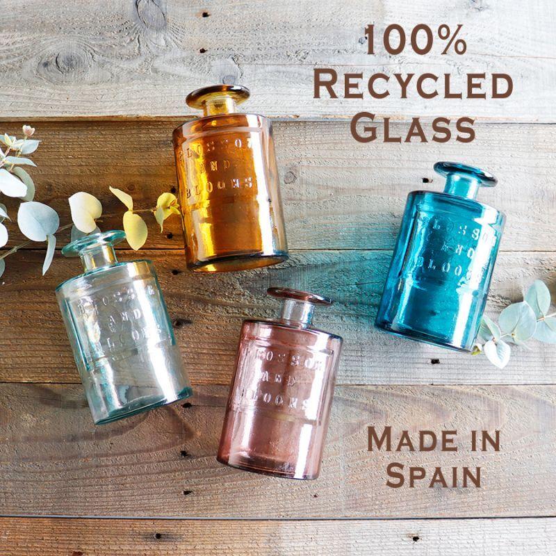画像1: 【VALENCIA RECYCLE GLASS 】インテリア ガラスボトル ベース 花瓶 フラワーアレンジント 花器  BLUE PURPLE AMBER スペイン製 アンティーク風 100% リサイクルガラス レトロ (1)