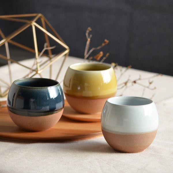 画像1: 【SALIU】ころころ SA02 湯呑み ロックカップ ホワイト 白 ネイビー 紺 イエロー 黄色 ロロ LOLO 陶器 日本製 (1)
