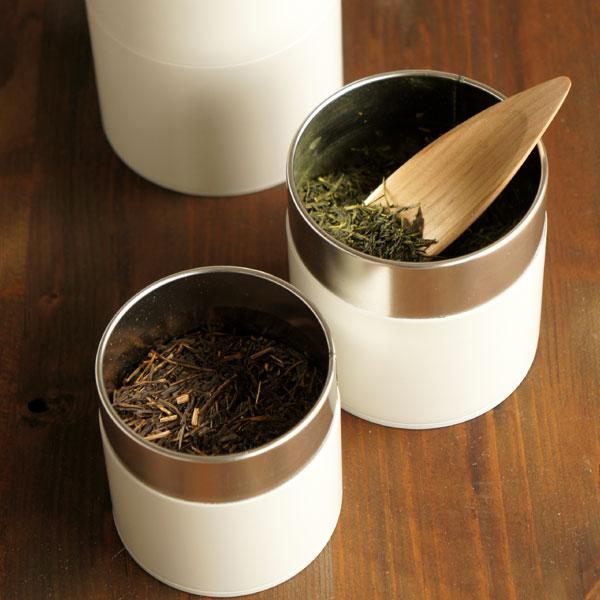 画像1: 【SALIU】茶缶 100g 保存容器 白 オフホワイト 和テイスト 和風 シンプル キャニスター 保存容器 ブリキ 日本製 LOLO (1)