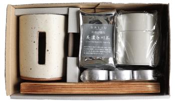 SALIUさのか茶香炉ギフトセット お茶のギフトに 粉引