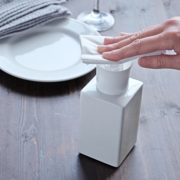 画像1: 【Square Dispenser】スクエアプッシュボトル 300ml 除菌 スクエア ディスペンサー 詰替え容器 日本製 ロロ LOLO 美濃焼 インフルエンザ 消毒 (1)
