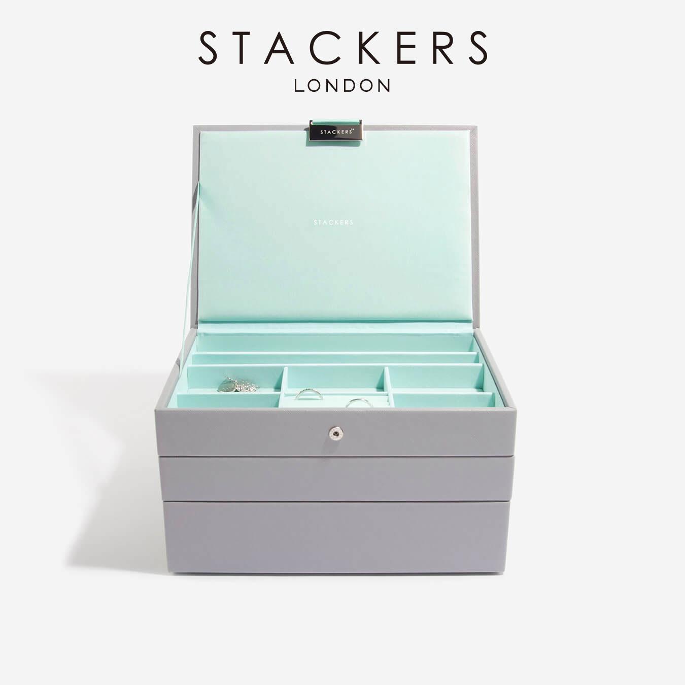 画像1: 【STACKERS】ジュエリーボックス  選べる3個セット ミント グレー/グレー ターコイズ /スタッカーズ/ジュエリーケース/ジュエリートレイ/重ねる/重なる/アクセサリーケース/イギリスデザイン/ロンドン/JEWELLRY BOX (1)