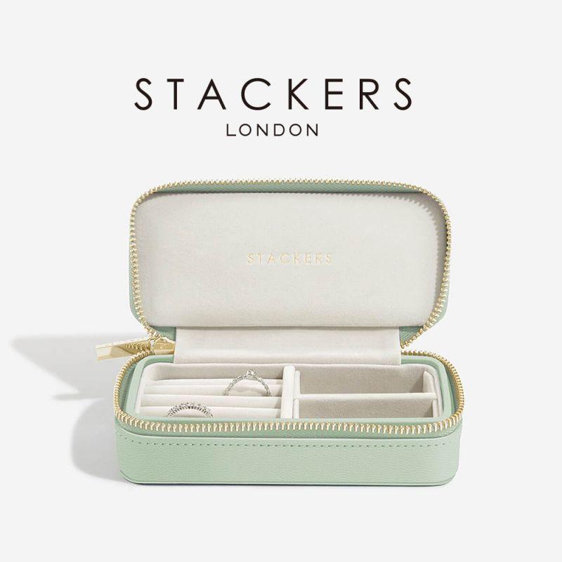 画像1: 【STACKERS】トラベルジュエリーボックス M セージグリーン green 緑  英国 スタッカーズ ジュエリーケース アクセサリーケース イギリス ロンドン /ジュエリーボックス トラベル/ジュエリー アクセサリー ケース 収納 (1)
